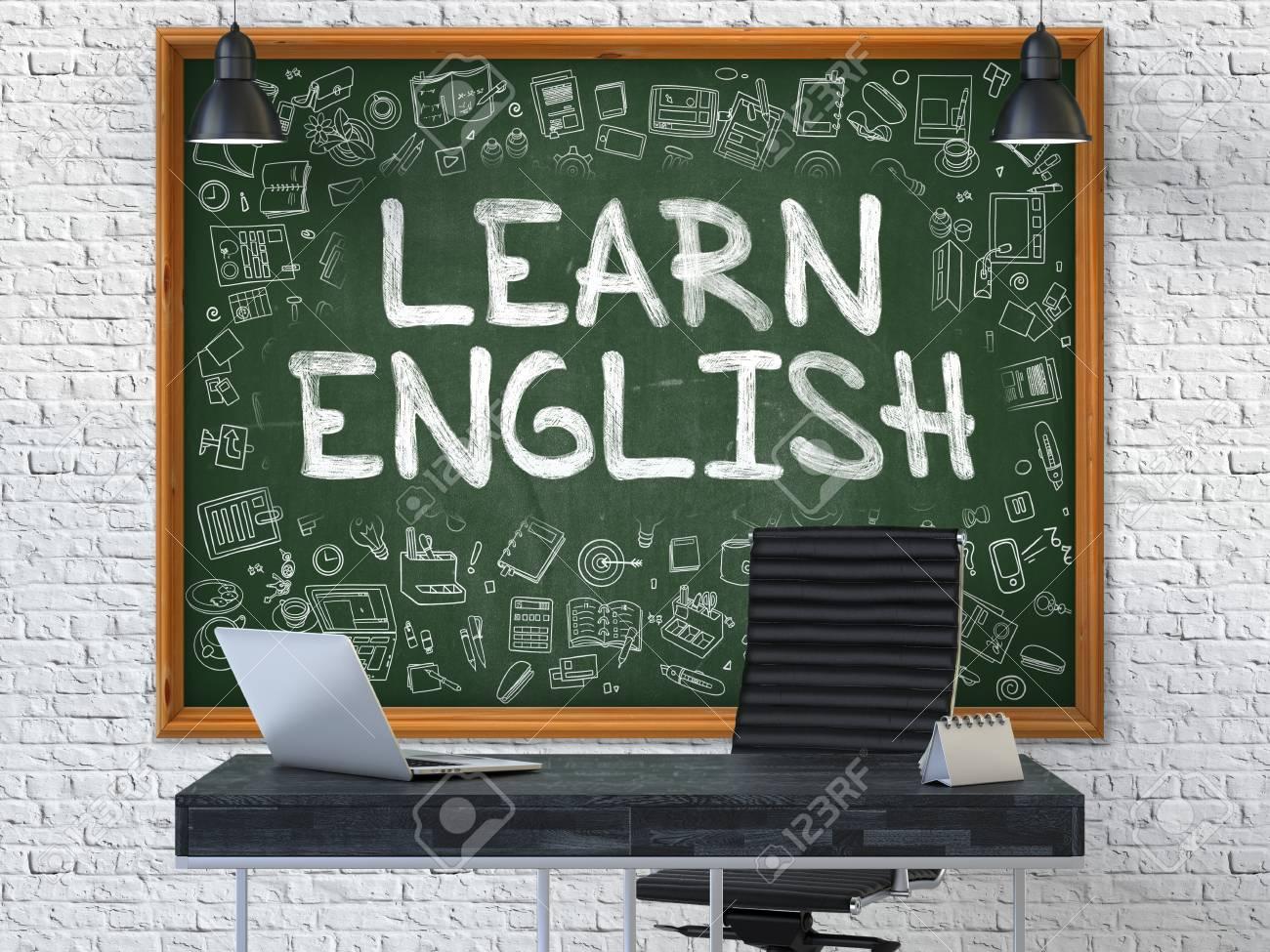 Ufficio Stile Inglese : Disegnato a mano impara l inglese sulla lavagna verde interiore