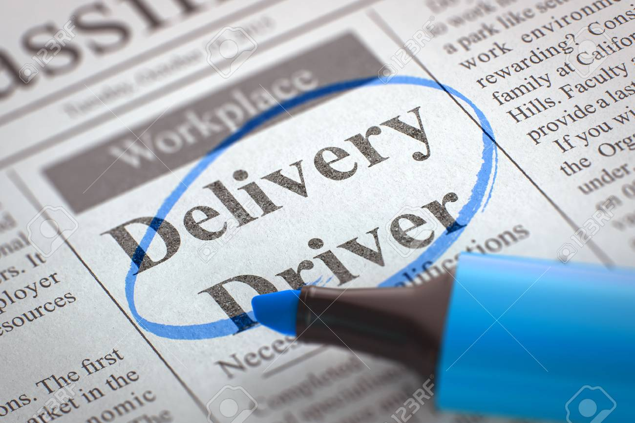 Delivery Driver - Vacancy in Newspaper, Circled with a Blue Marker. Newspaper with Vacancy Delivery Driver. Blurred Image with Selective focus. Concept of Recruitment. 3D Rendering. - 58843989