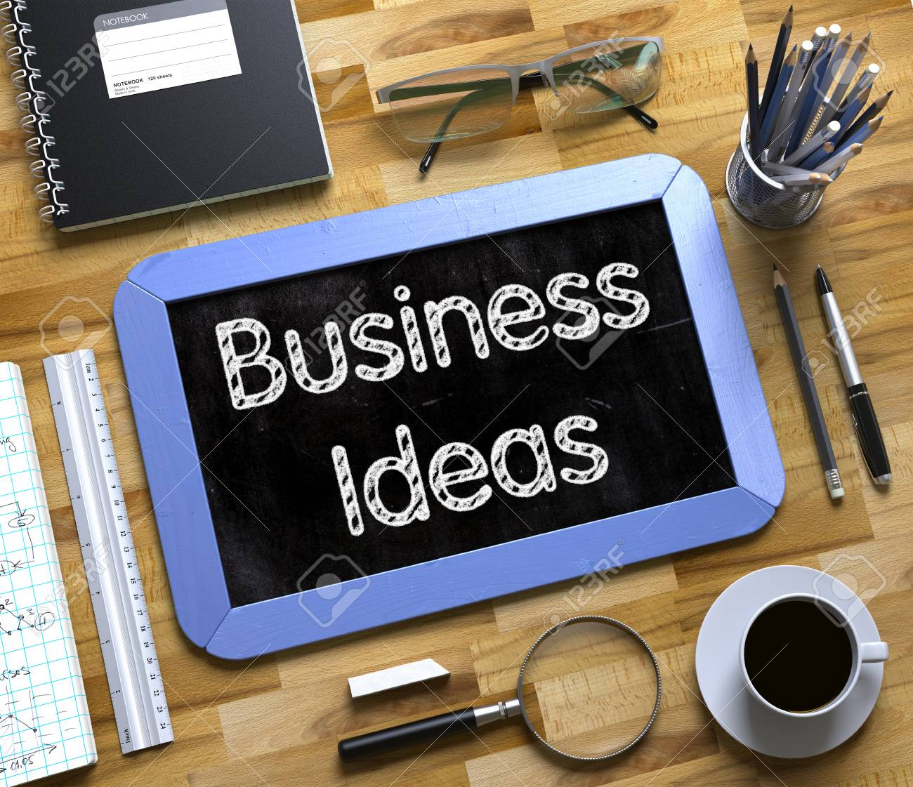 Business Ideas Text On Small Chalkboard Top View Of Office Stock Photo Picture And Royalty Free Image Image 61832707