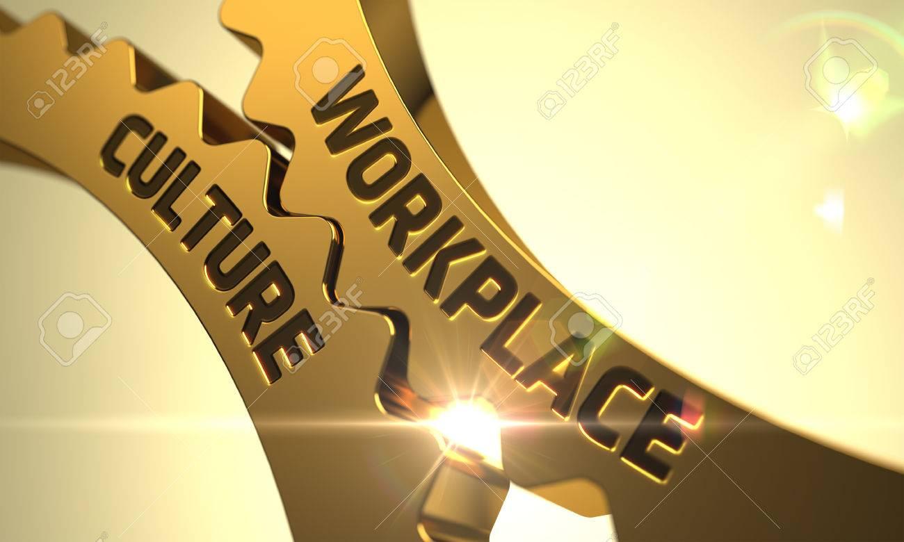 Workplace Culture on Mechanism of Golden Metallic Cog Gears. 3D Render. - 62295688
