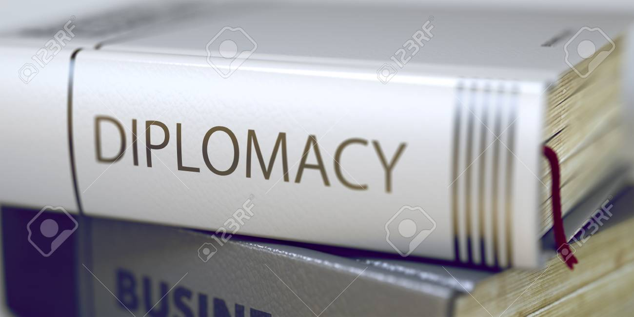 Stack of Business Books  Book Spines with Title - Diplomacy