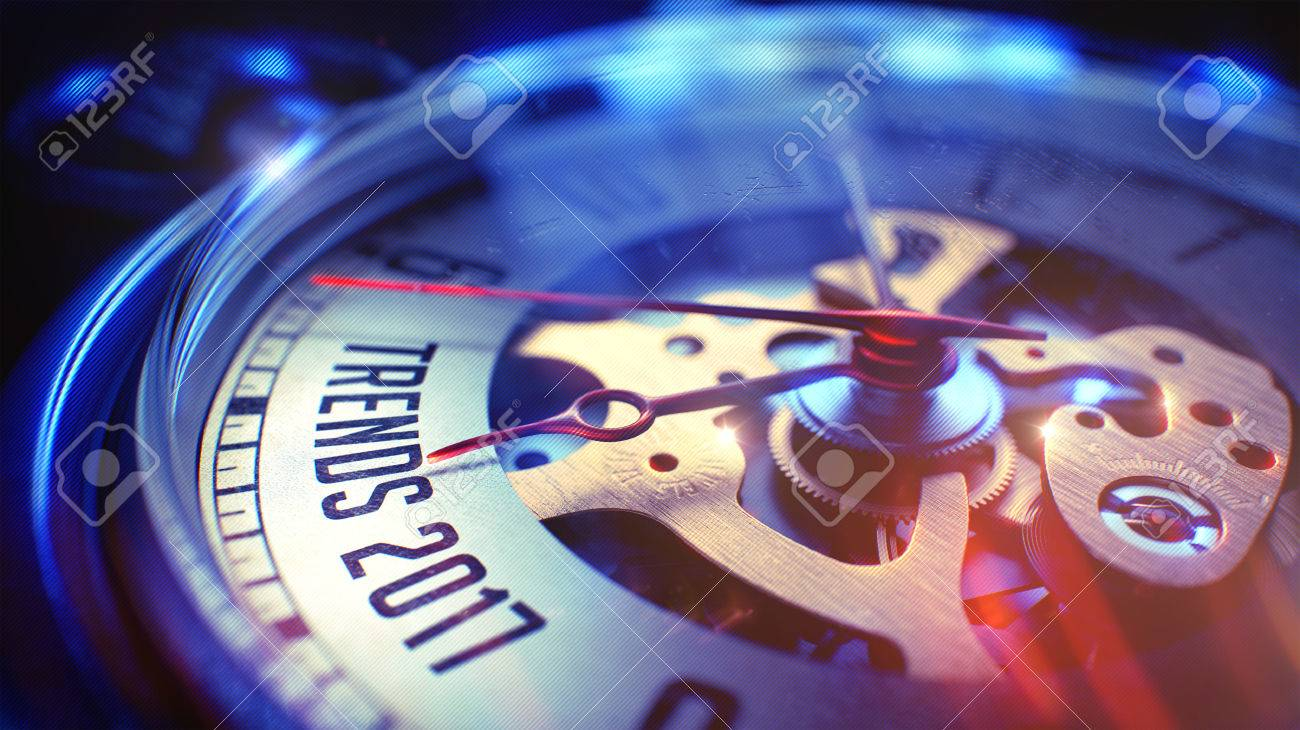 Trends 2017. on Pocket Watch Face with Close View of Watch Mechanism. Time Concept. Film Effect. Pocket Watch Face with Trends 2017 Phrase on it. Business Concept with Film Effect. 3D Render. Standard-Bild - 63194773