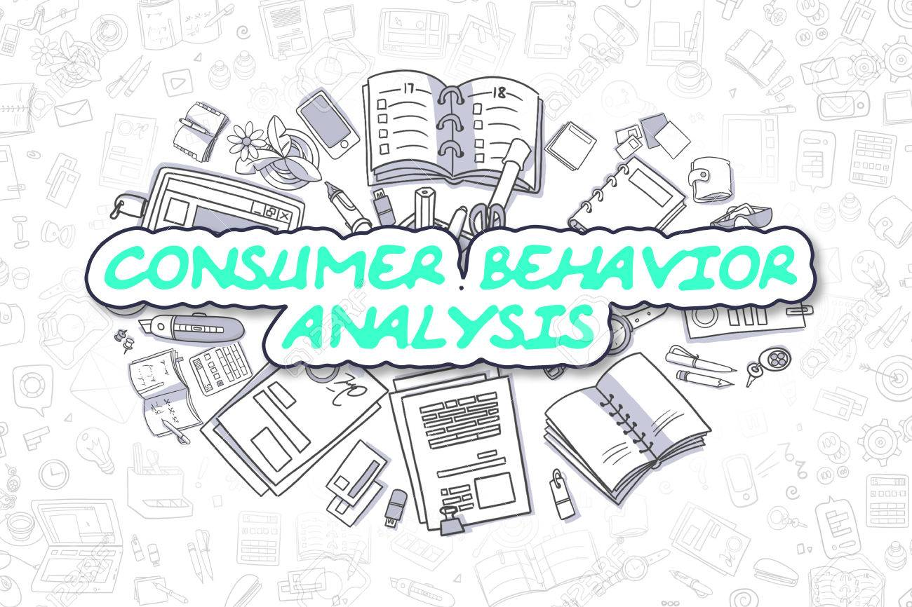 Consumer Behavior Analysis Doodle Illustration Of Green Word And Stationery  Surrounded By Cartoon Icons. Business
