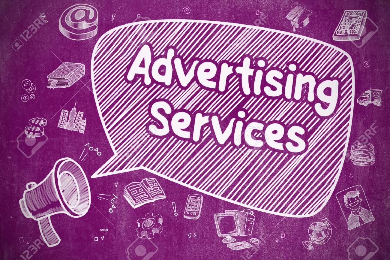 Concepto De Negocio Altavoz De Bocina Con Servicios De Publicidad De Frases Ilustración De Doodle En Pizarra Púrpura