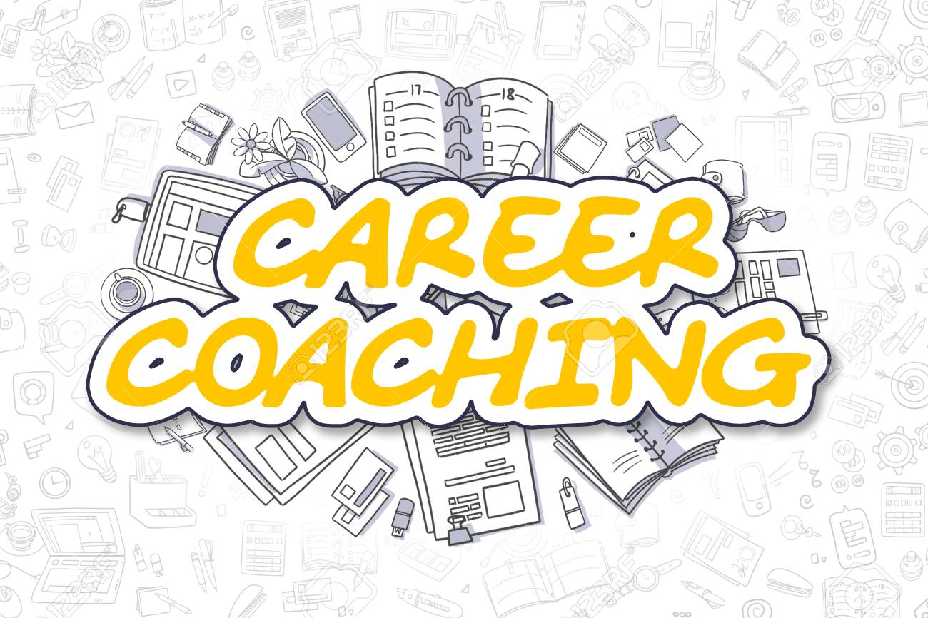 Yellow Word Career Coaching Business Concept With Doodle Icons Stock Photo Picture And Royalty Free Image Image 65728235
