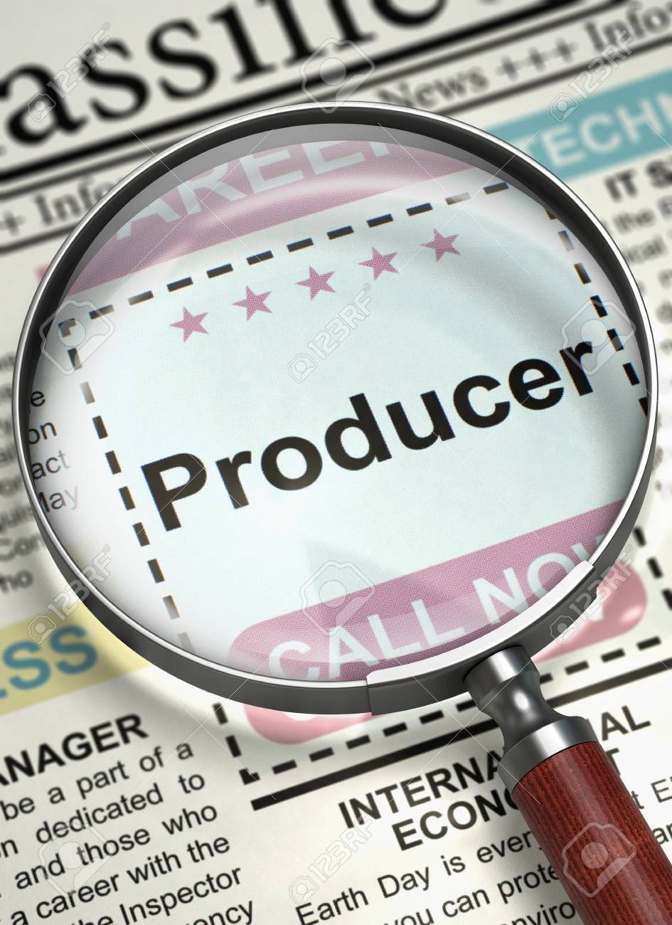 Magnifying Lens Over Newspaper with Jobs of Producer  Producer
