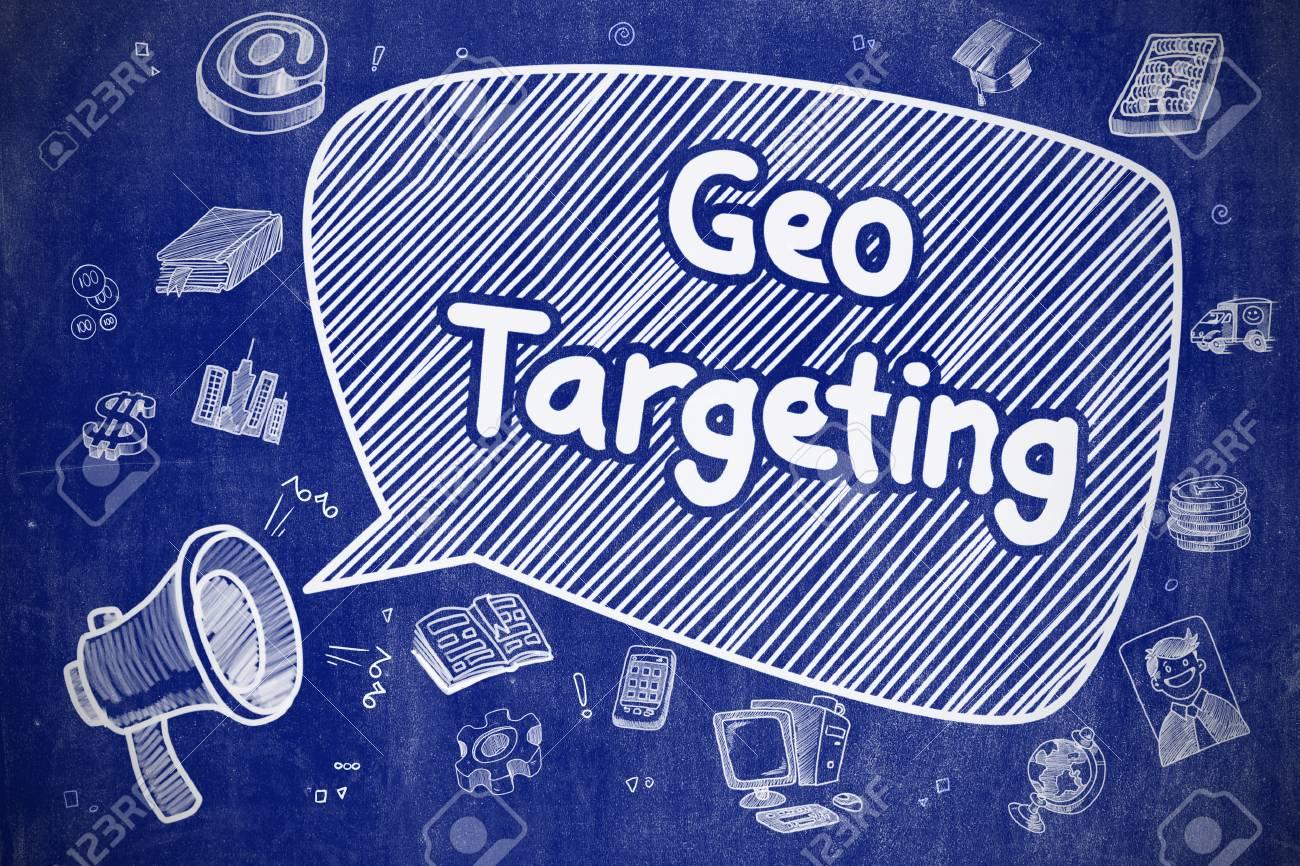 geo targeting hand drawn illustration on blue chalkboard stock