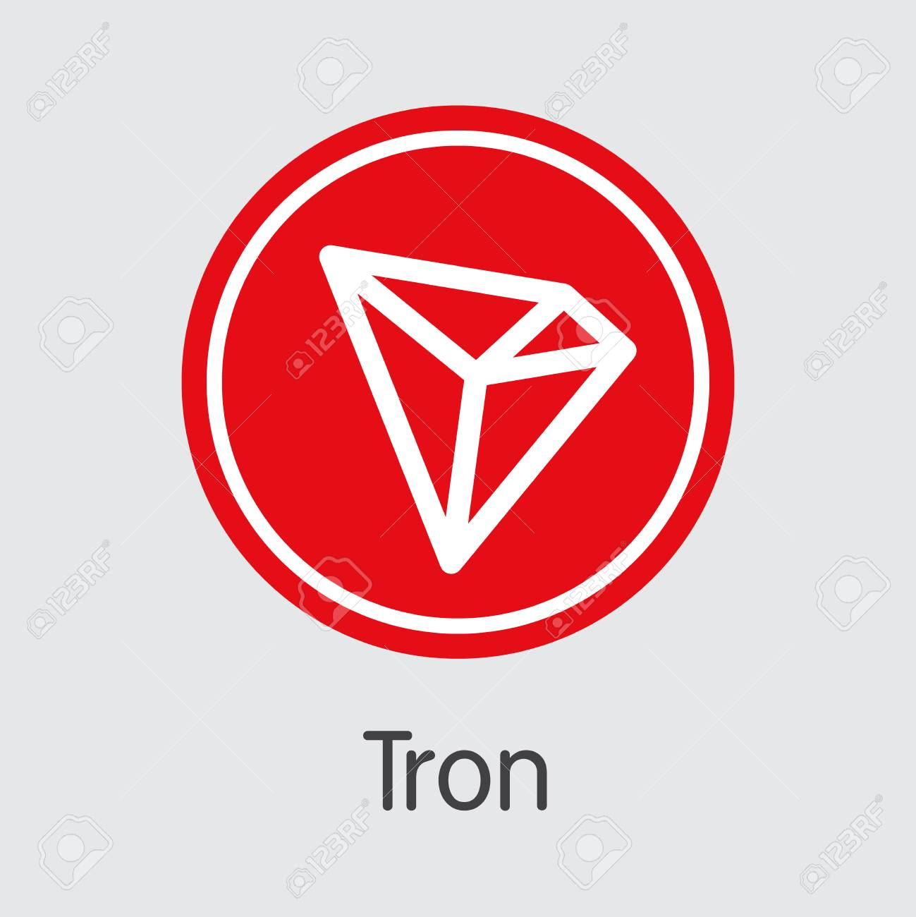 Tron Virtual Currency Coin  Vector Graphic Symbol of TRX
