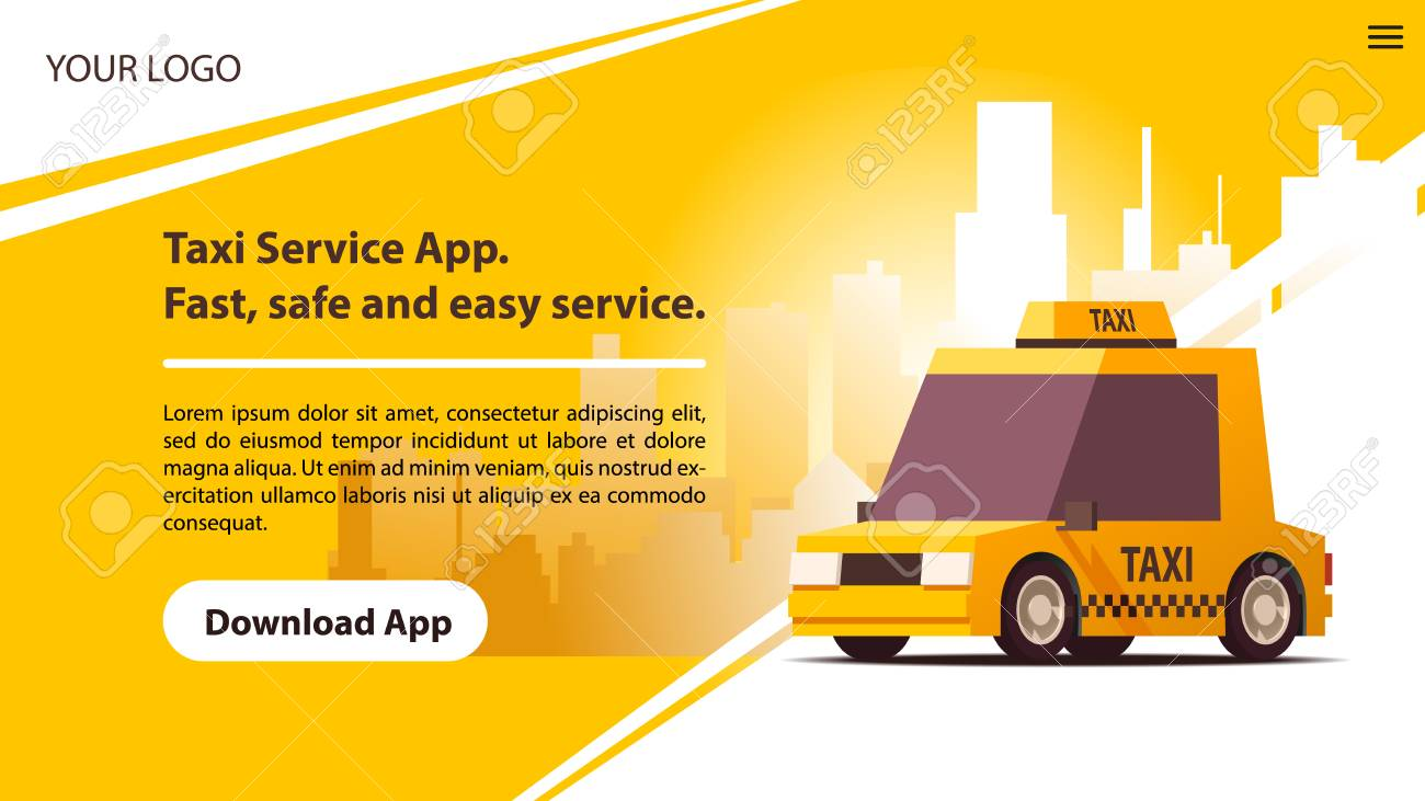 Taxi Services Mobile App with Cute Yellow Cab