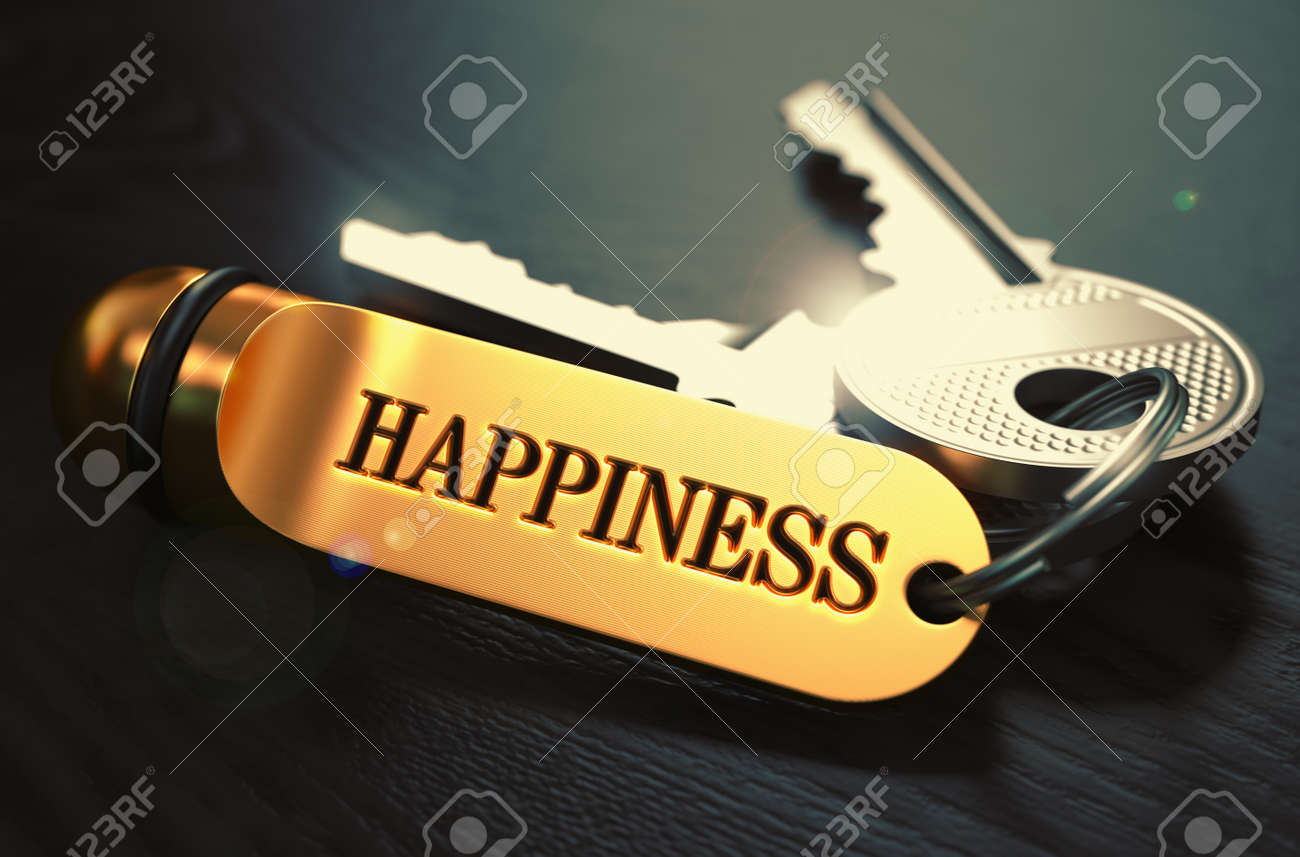 Keys to Happiness - Concept on Golden Keychain over Black Wooden Background. Closeup View, Selective Focus, 3D Render. Toned Image. - 167455881