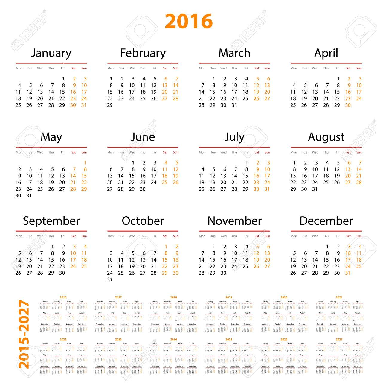 calendar 2015 2016 2017 2018 2019 2020 2021 2022
