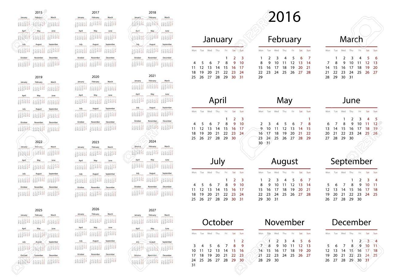 Calendario 2019 Con Numero Week.Calendar 2015 2016 2017 2018 2019 2020 2021 2022 2023