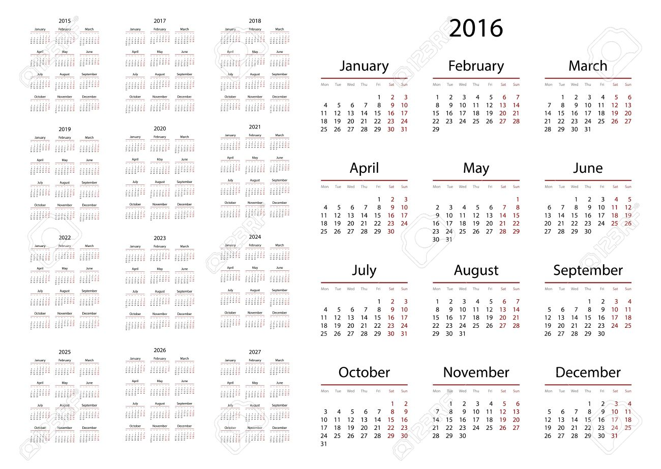 Calendario 2020 Portugues Com Feriados.Calendario 2015 2016 2017 2018 2019 2020 2021 2022 2023 2024 2025 2026 2027 Anos La Semana Comienza El Lunes Ilustracion Del Vector