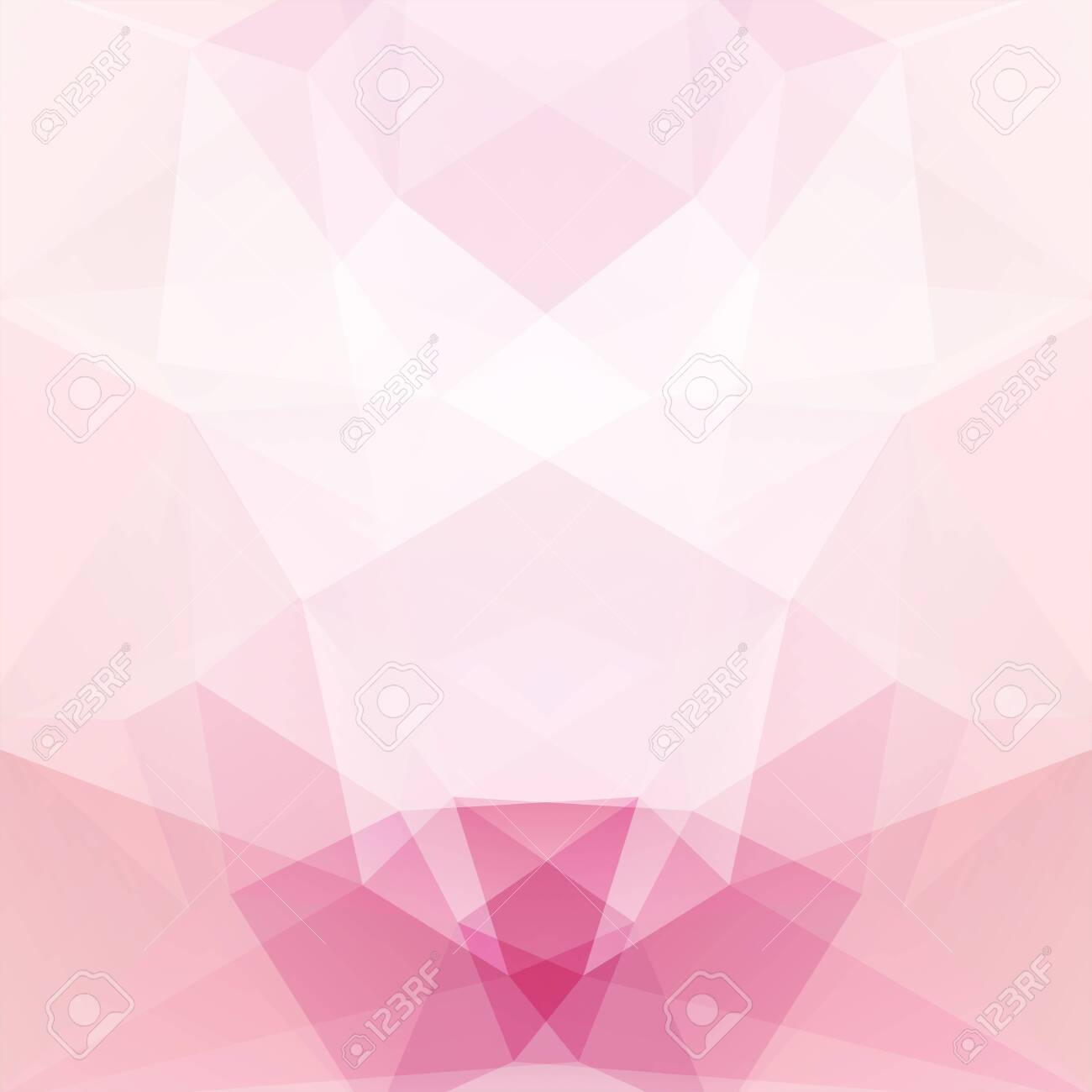 Background made of pastel pink, white triangles. Square composition with geometric shapes. - 120625535
