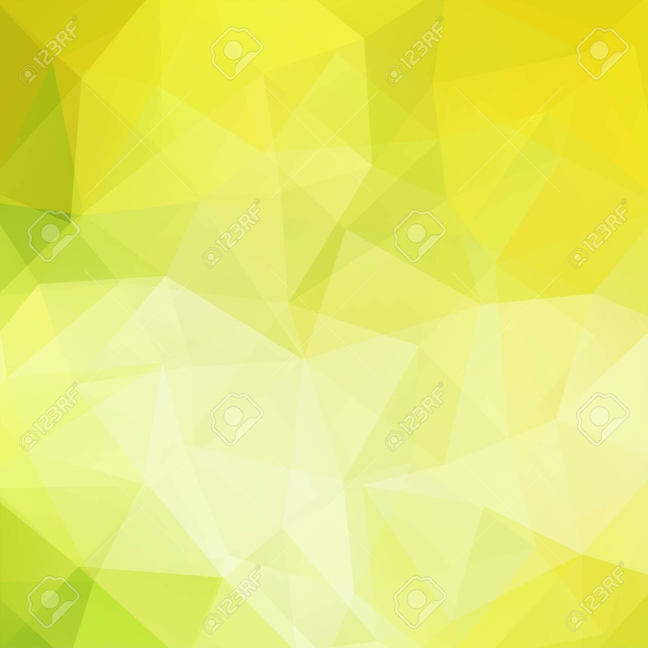 Background made of yellow, green triangles. Square composition with geometric shapes. - 121958414