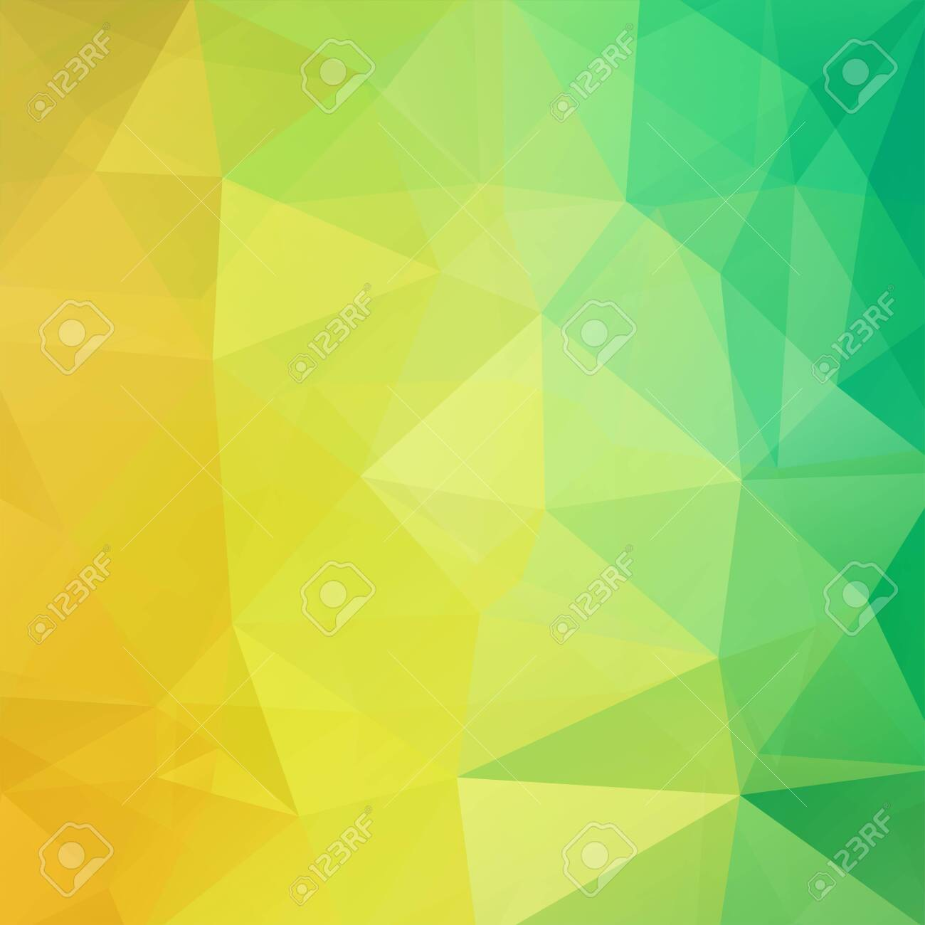 Background made of yellow, green triangles. Square composition with geometric shapes. - 121991422