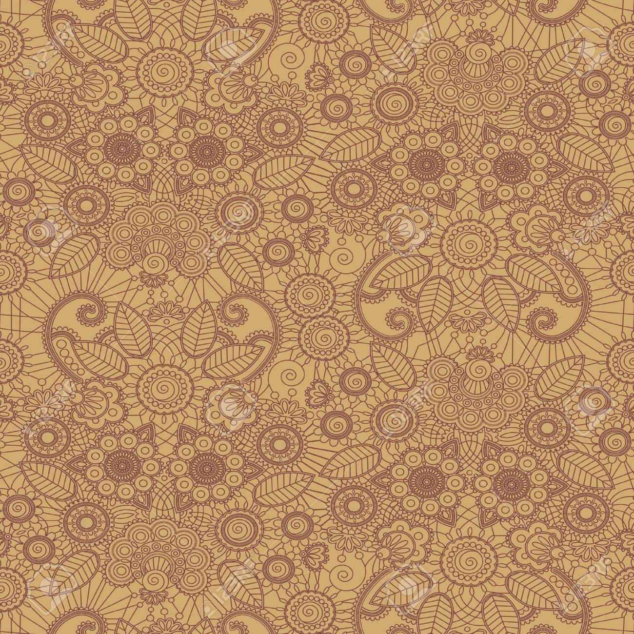 Hand-Drawn henna Mehndi Abstract Flowers. Vector illustration. Seamless. Stock Vector - 11650749