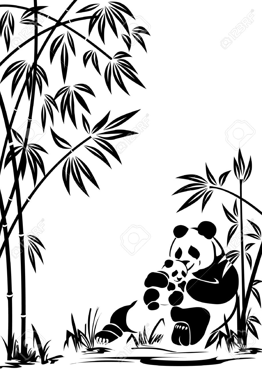 Corel draw clipart images - Coreldraw Panda With A Cub In Bamboo Thickets To Modify This File You Will