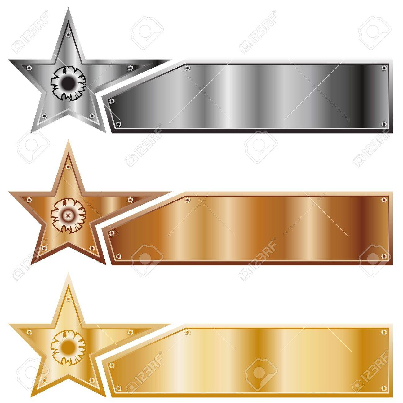Metal stars. A set of banners of various types of metal. - 11650678