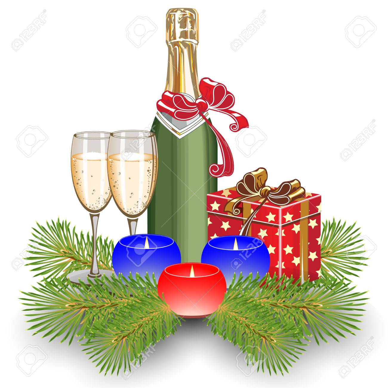 Candles on fir trees. Two glasses of champagne. Gift Box. Christmas. Stock Vector - 11650806