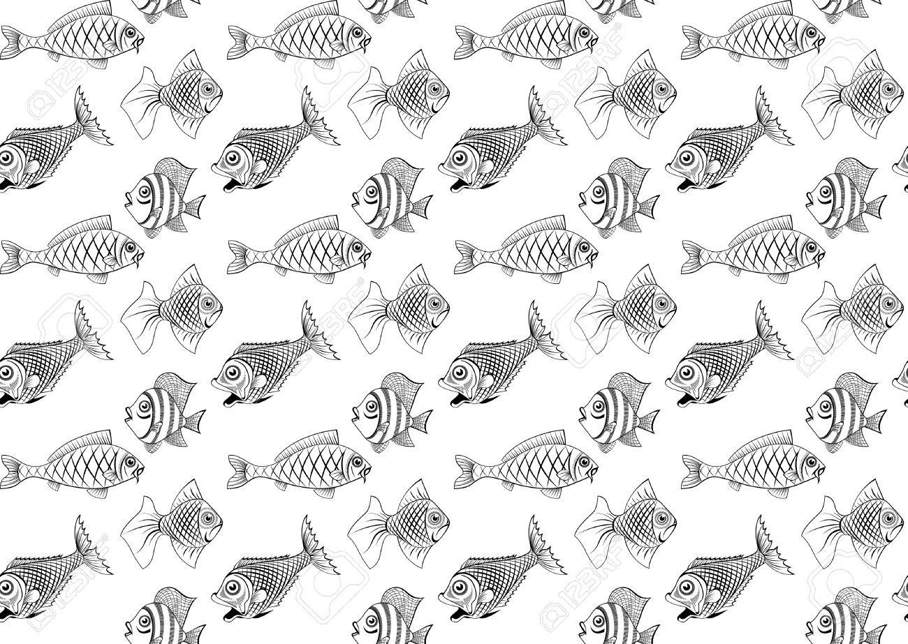 Different kinds of fish. Seamless. You can repaint any color. Stock Vector - 11650802
