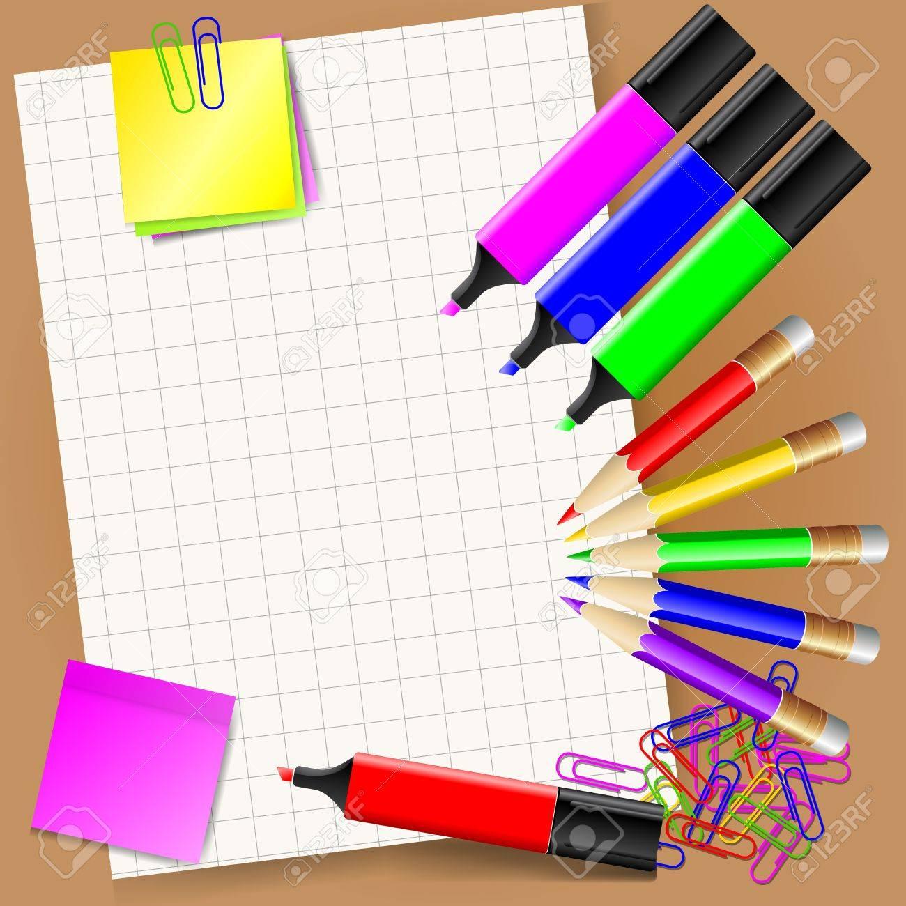 Белый лист бумаги и фломастеры