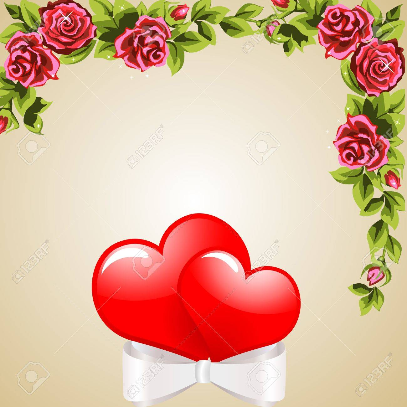 Two heart-related band  The wreath of roses  The background Stock Vector - 12497550