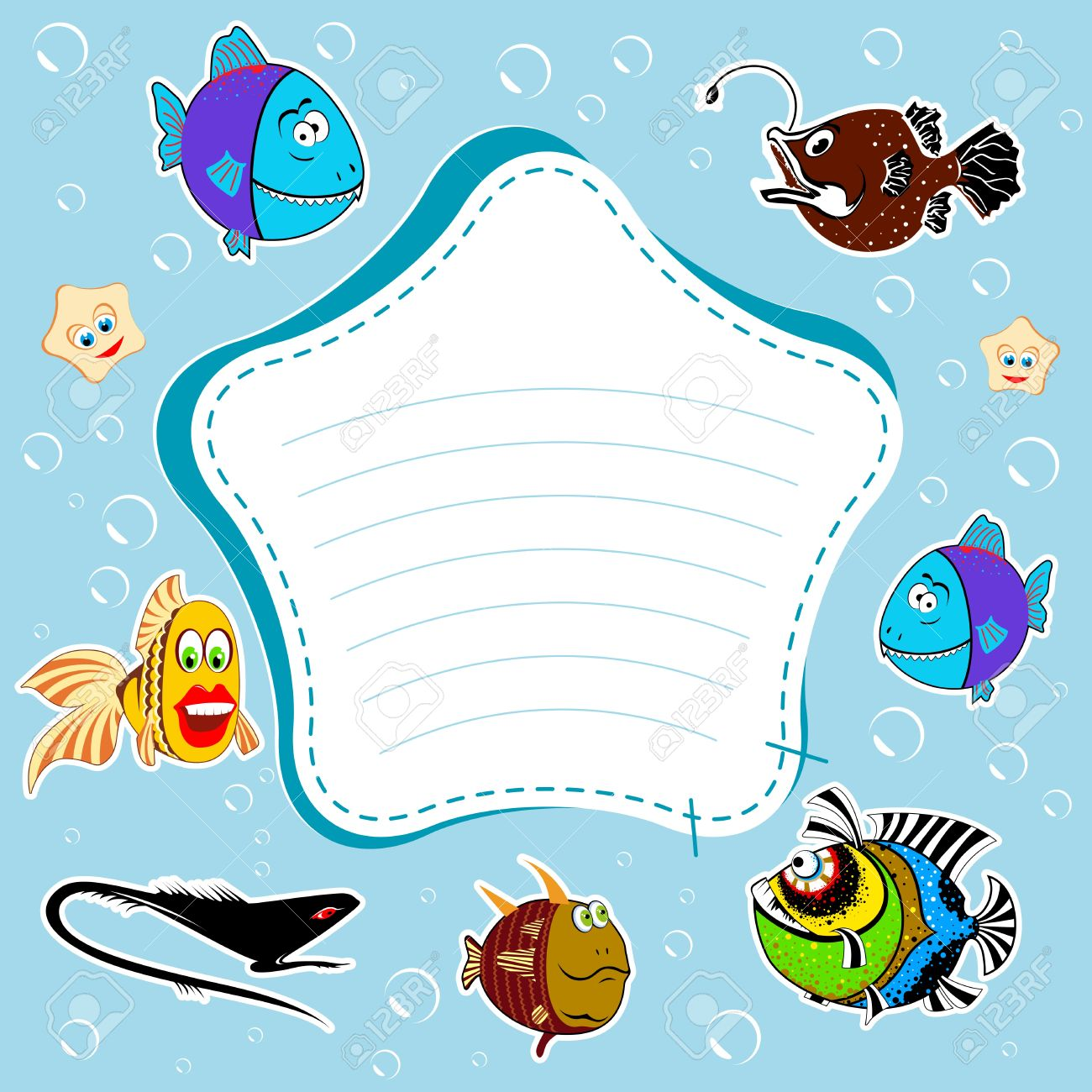 Blue Background, Bubbles, Fish The Frame, Place For Text Stock Photo ...