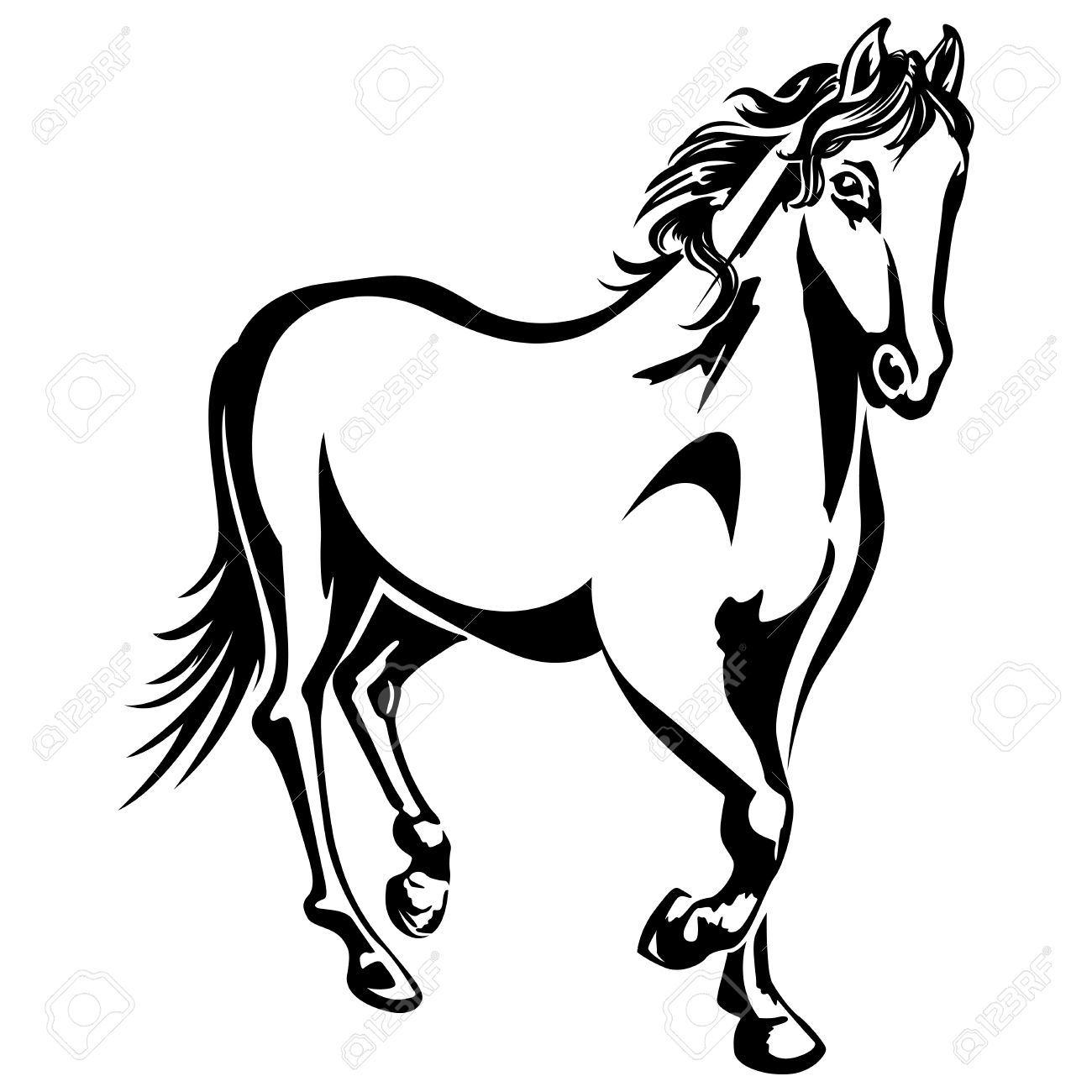 The Horse Is Running Black And White Drawing Silhouette Royalty Free