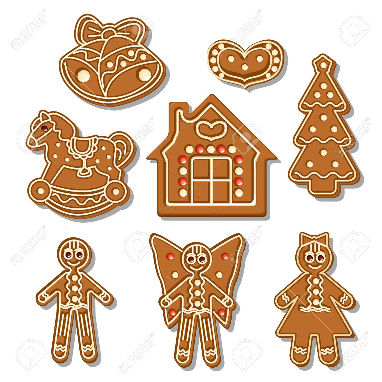 Set of different gingerbread figures on a white background Stock Vector - 22867549