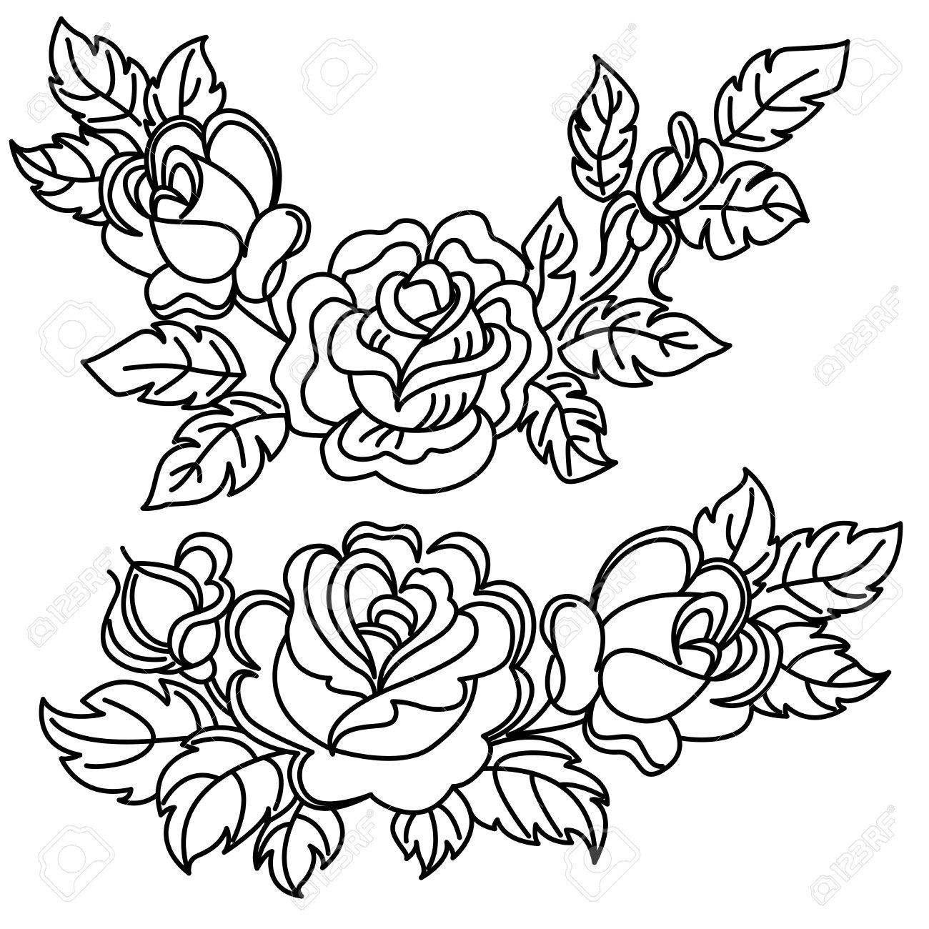Roses, des fleurs et des feuilles. Dessin noir et blanc. Banque d
