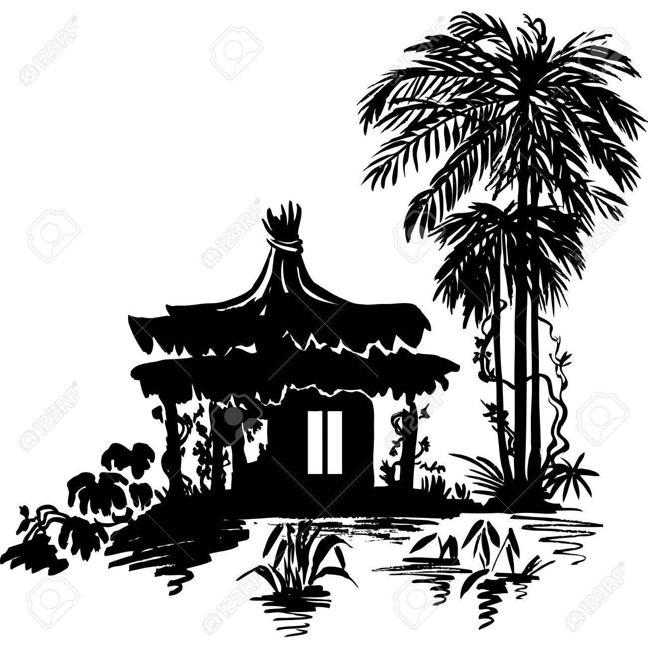 Bungalow Under A Palm Tree Near The Water Monochrome Drawing Stock Vector