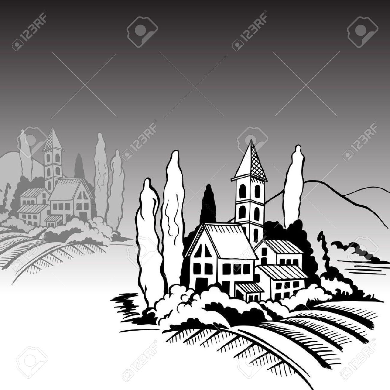 Paysage Du Sud Maisons Montagnes Cyprès Dessin En Noir Et Blanc