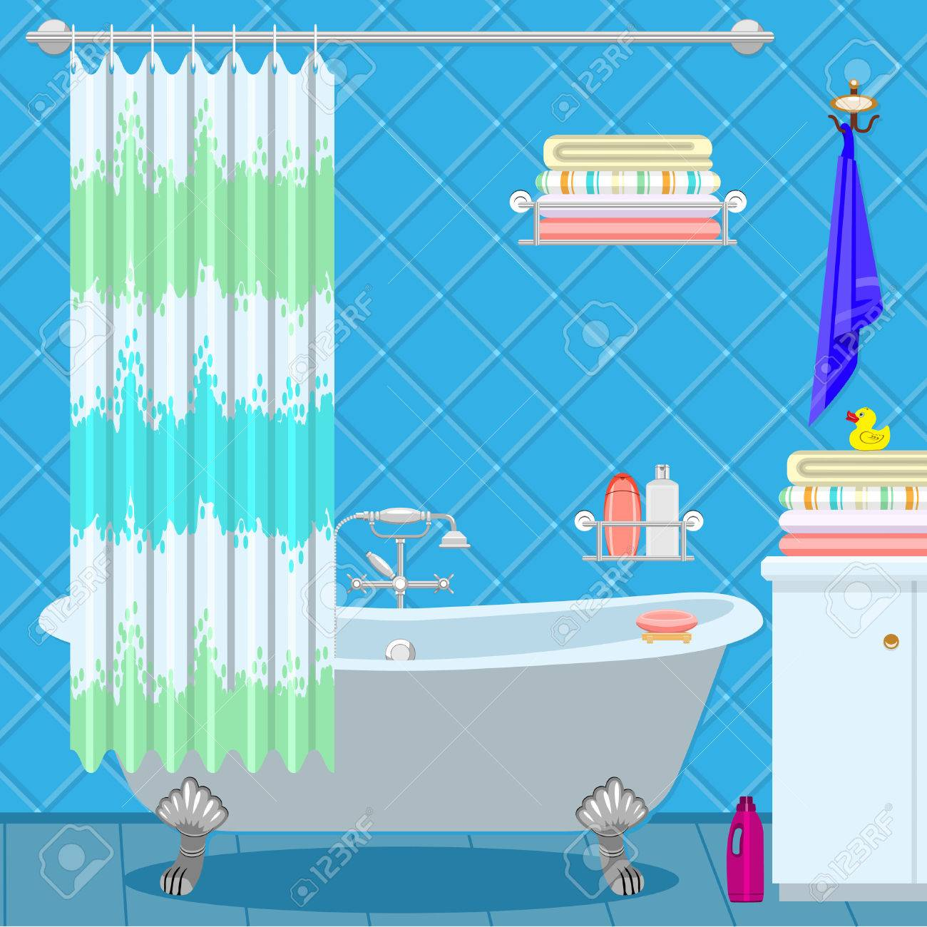 Bathroom Equipment Bath On The Legs Of A Blue Green Curtain