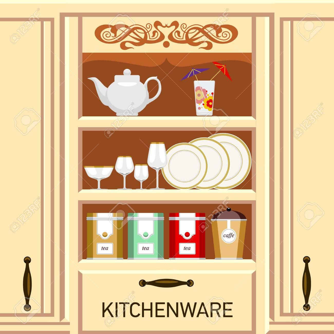Kuchenregal Schrank Mit Geschirr Metalldosen Von Tee Und Kaffee Lizenzfrei Nutzbare Vektorgrafiken Clip Arts Illustrationen Image 43321828