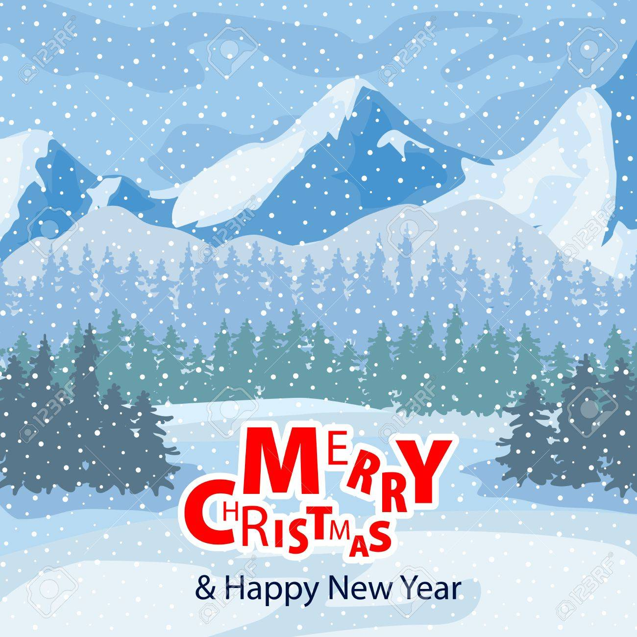 Winter landscape. Mountains and trees in the background. Christmas Celebration. Winter landscape can be used for your Christmas design. - 66904602