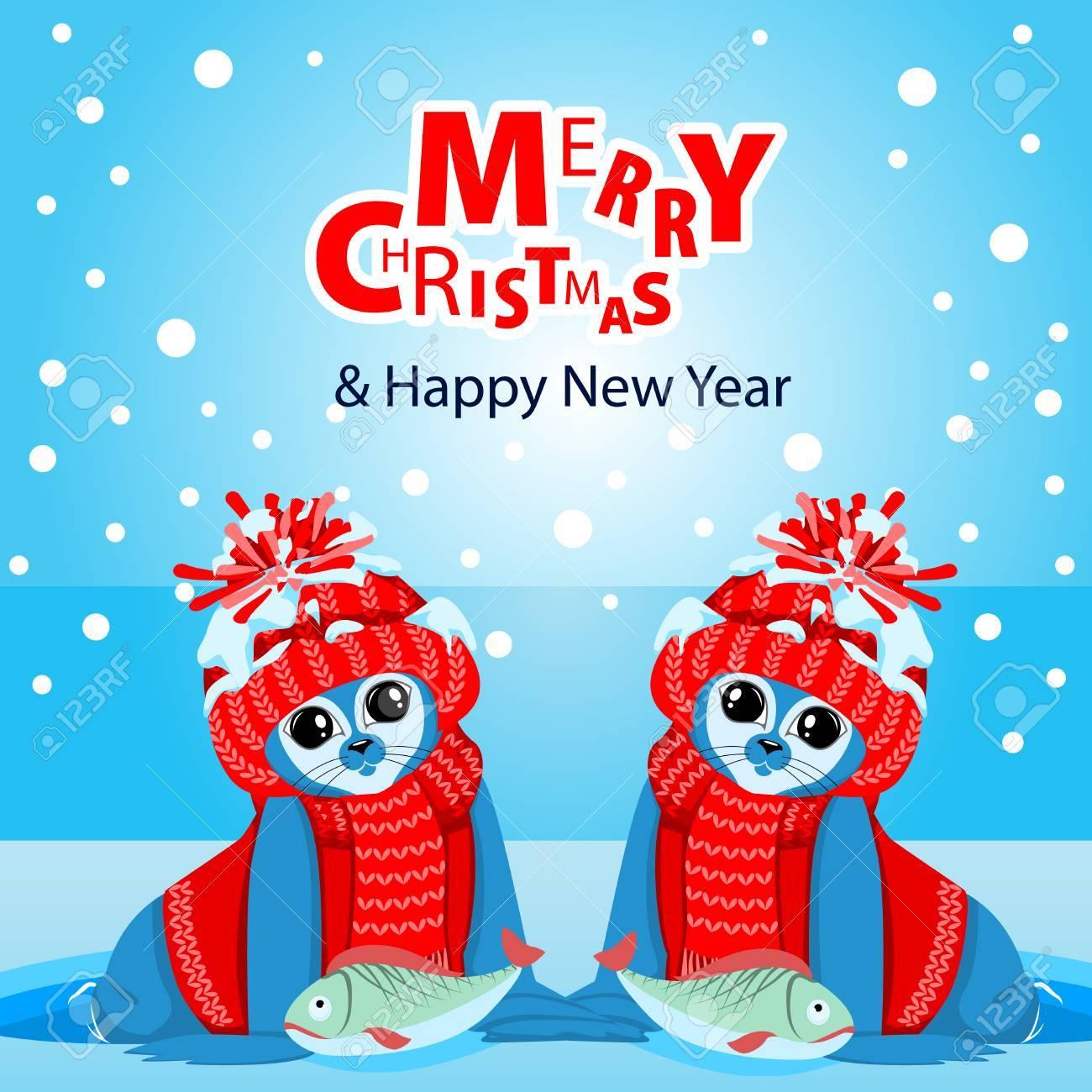 AnAnimaux Un Du Arctiques D'hiverLa Fond Paysage D'un Nouvel En Fourrure Bébés Célébration Noël Caractère Chapeaux De Colorés Sur Phoques Et 76ybfg