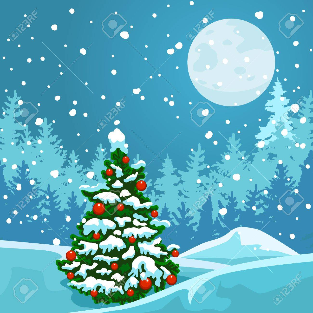 new year card christmas tree on the background of a winter landscape full moon