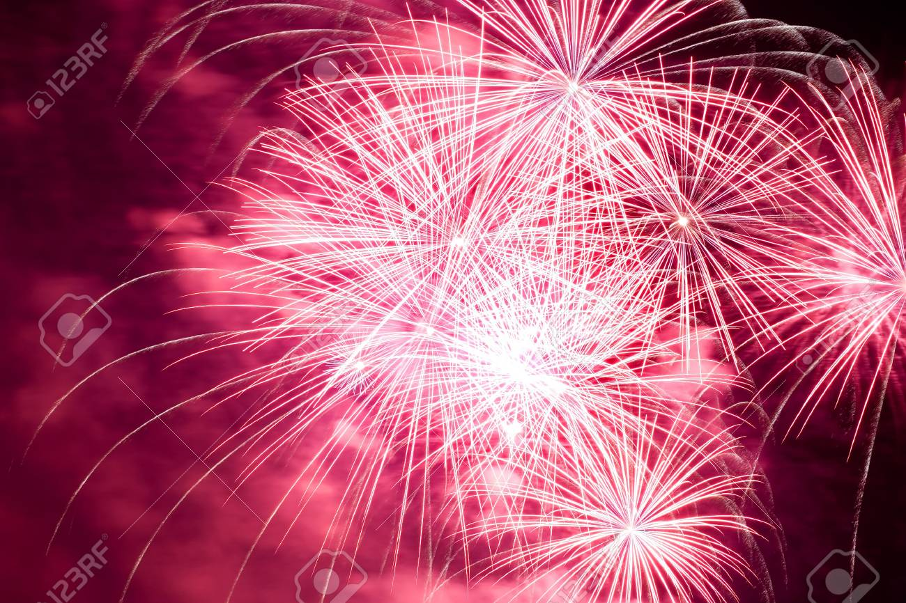 Holiday fireworks display in the sky along the riverbank Stock Photo - 3212484