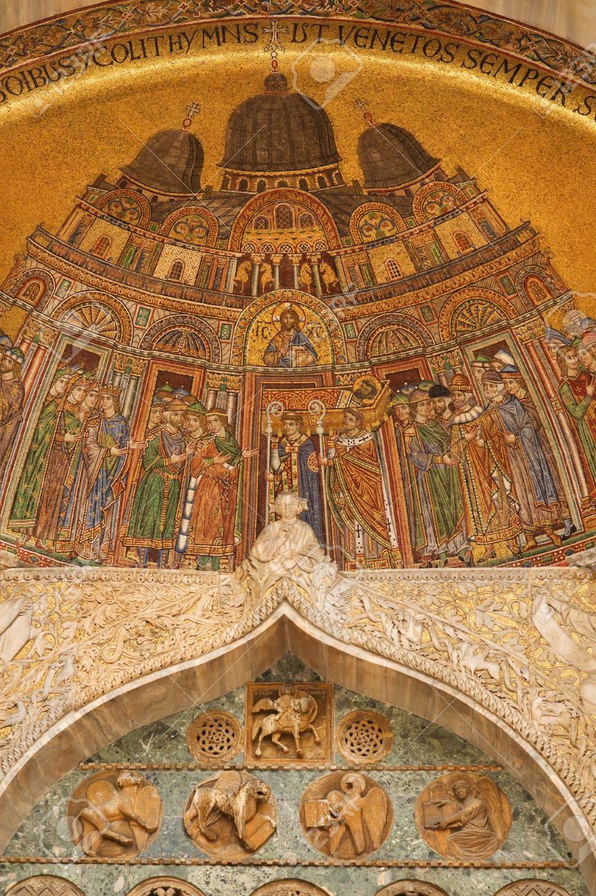 Famous Byzantine Mosaics Of Basilica Di San Marco Stock Photo ...