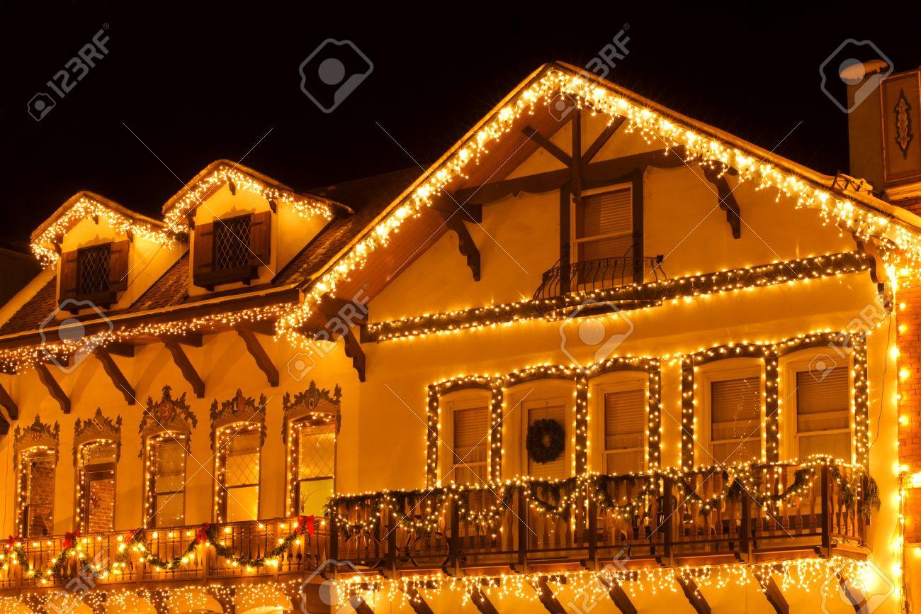 Christmas Lights On Houses.Christmas Lights On Houses Of Leavenworth Bavarian Village Washington