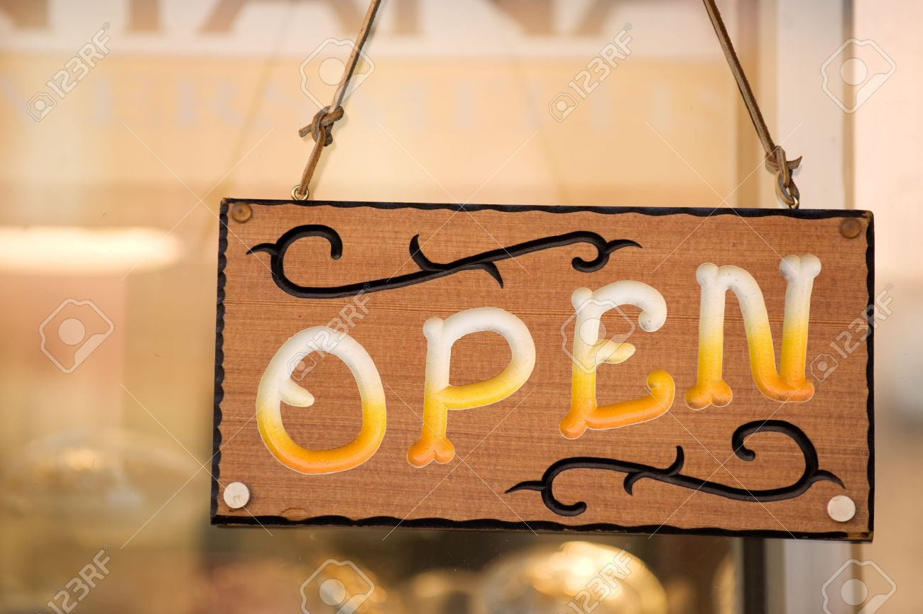Open Sign On The Door Of Country Western Shop Stock Photo Picture