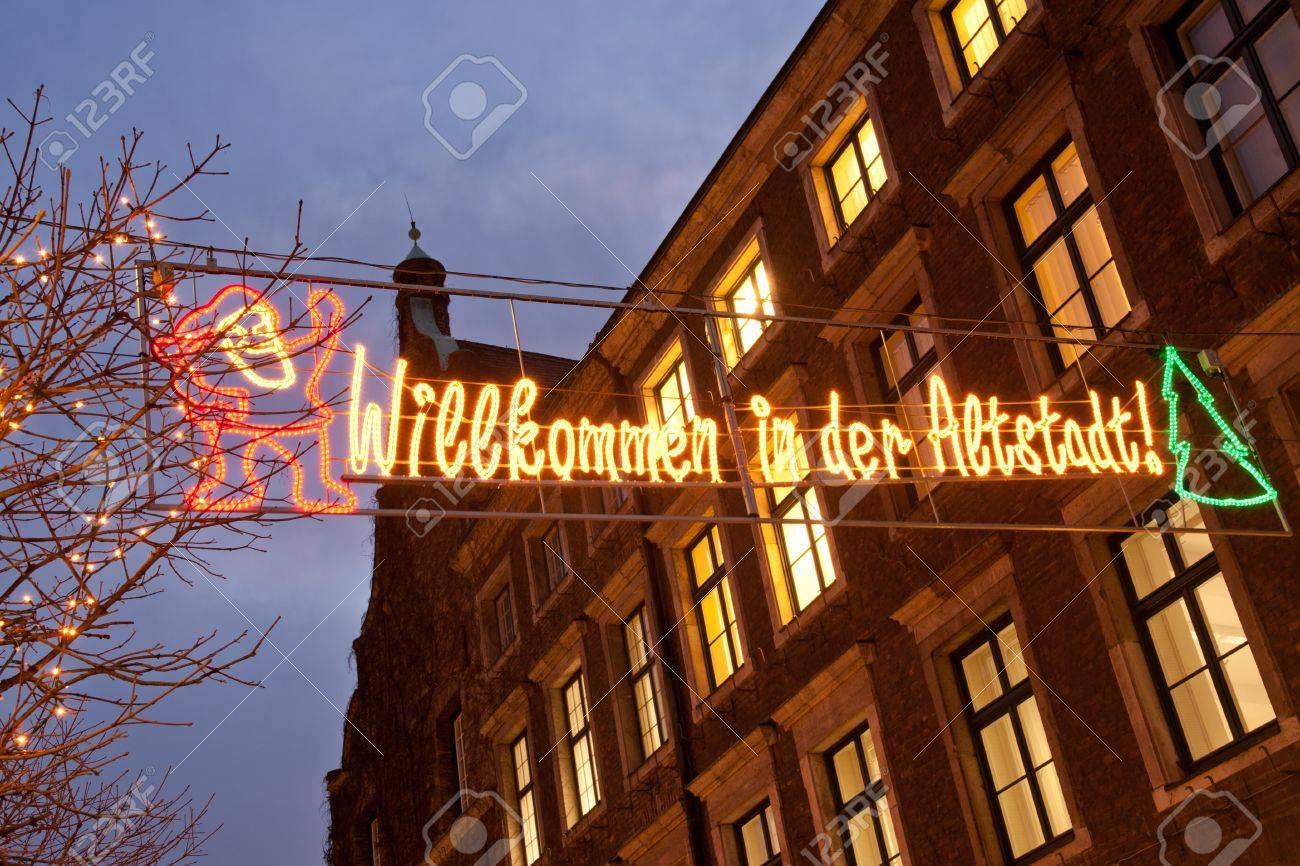 Welcome sign to Altstadt Christmas market in Dusseldorf Stock Photo - 11403092