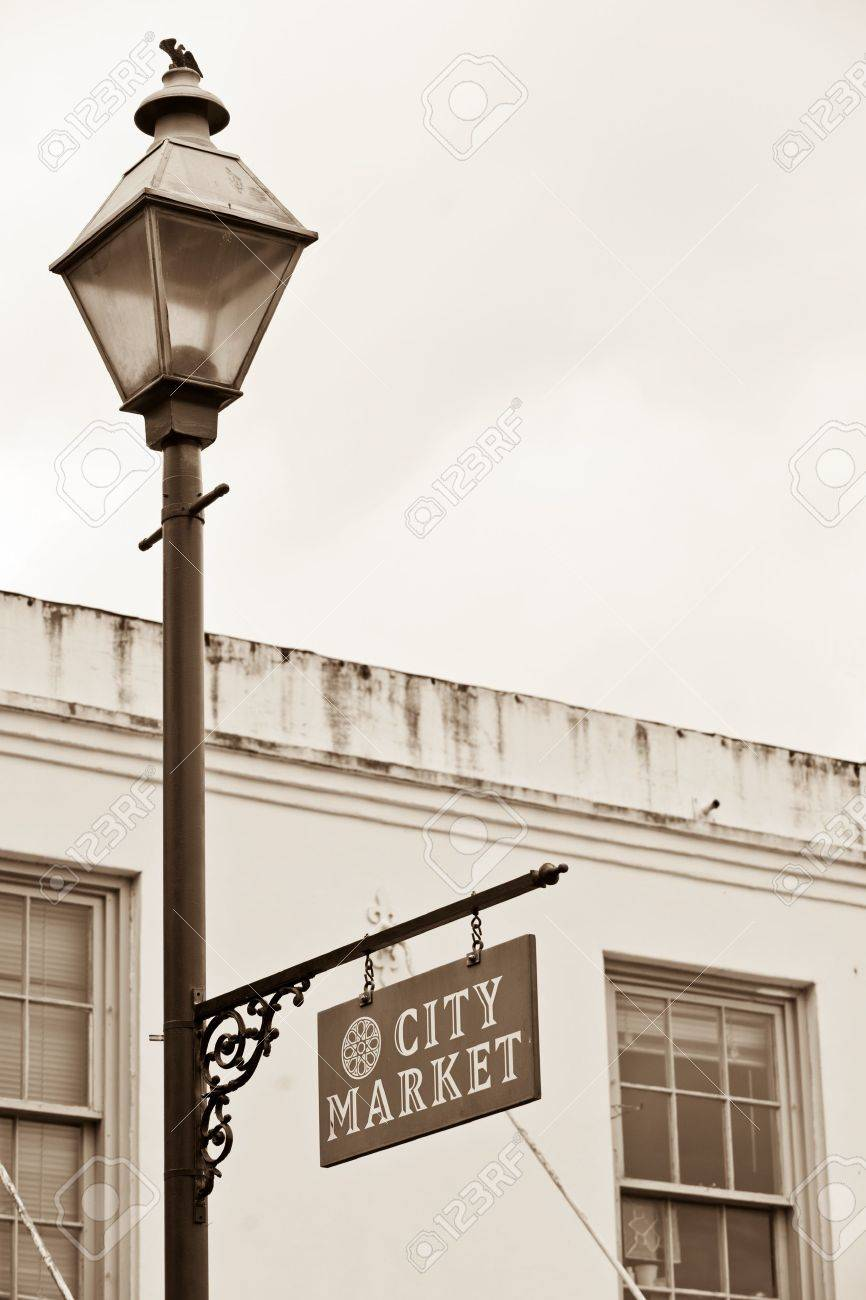 City Market sign on lamppost in Historic District of Savannah Stock Photo - 11797354
