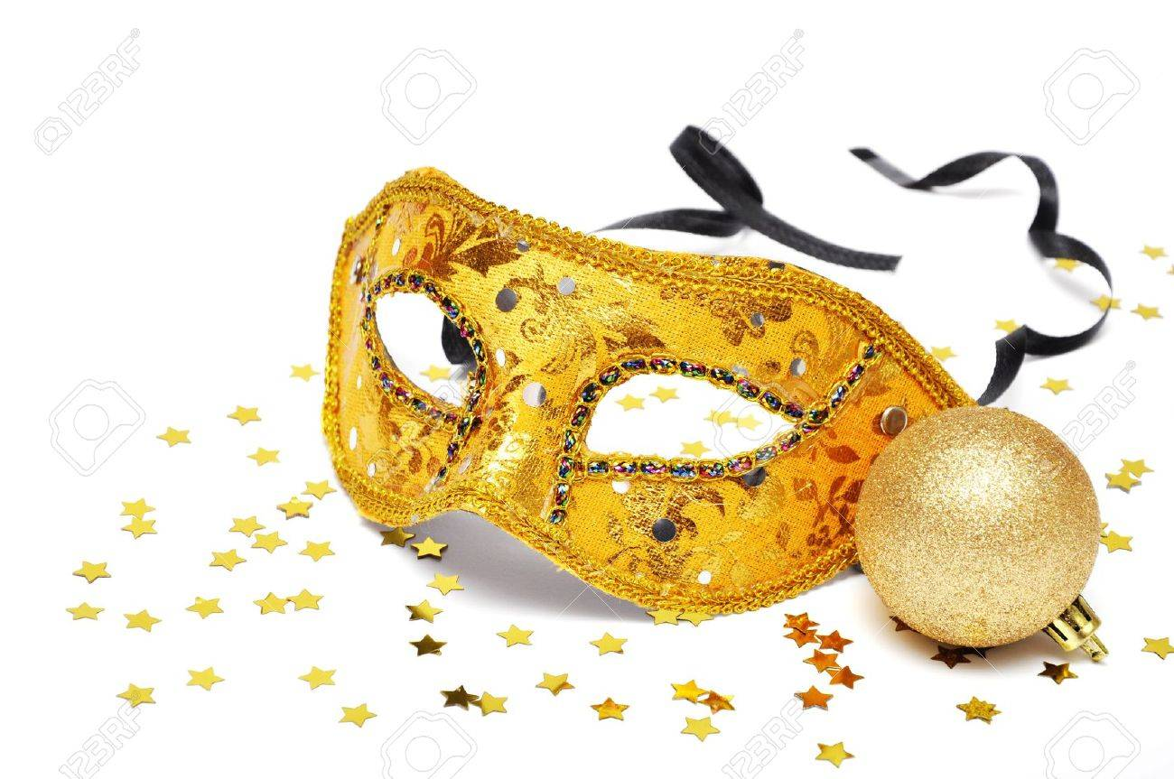 carnival golden mask with confetti on white background Stock Photo - 11275973