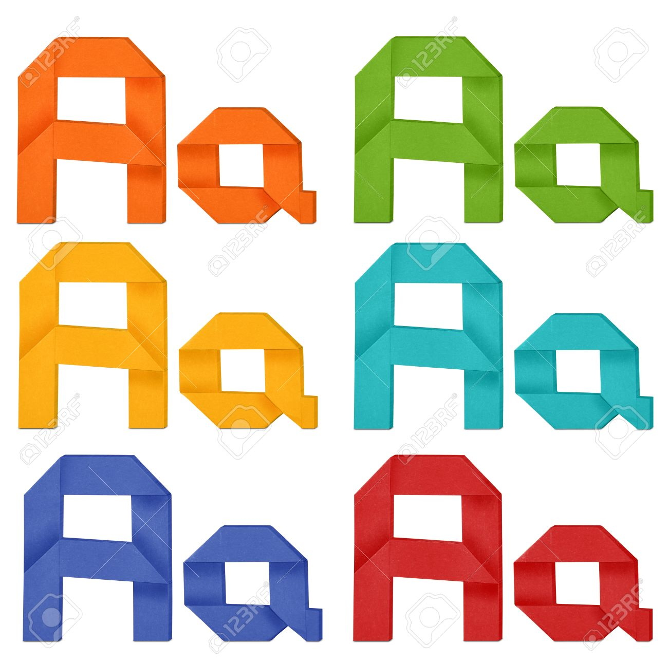 lettre origami Set Of Capital Letter And Lowercase Letter A In Various Color  lettre origami