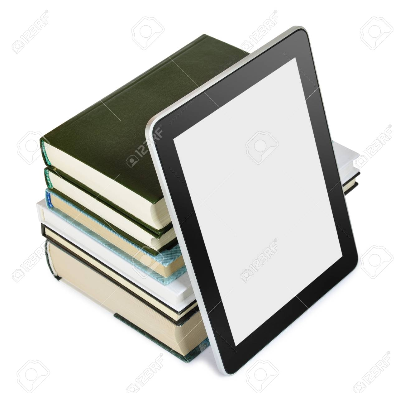 a tablet pc with books isolated on white  Education concept Stock Photo - 13510784
