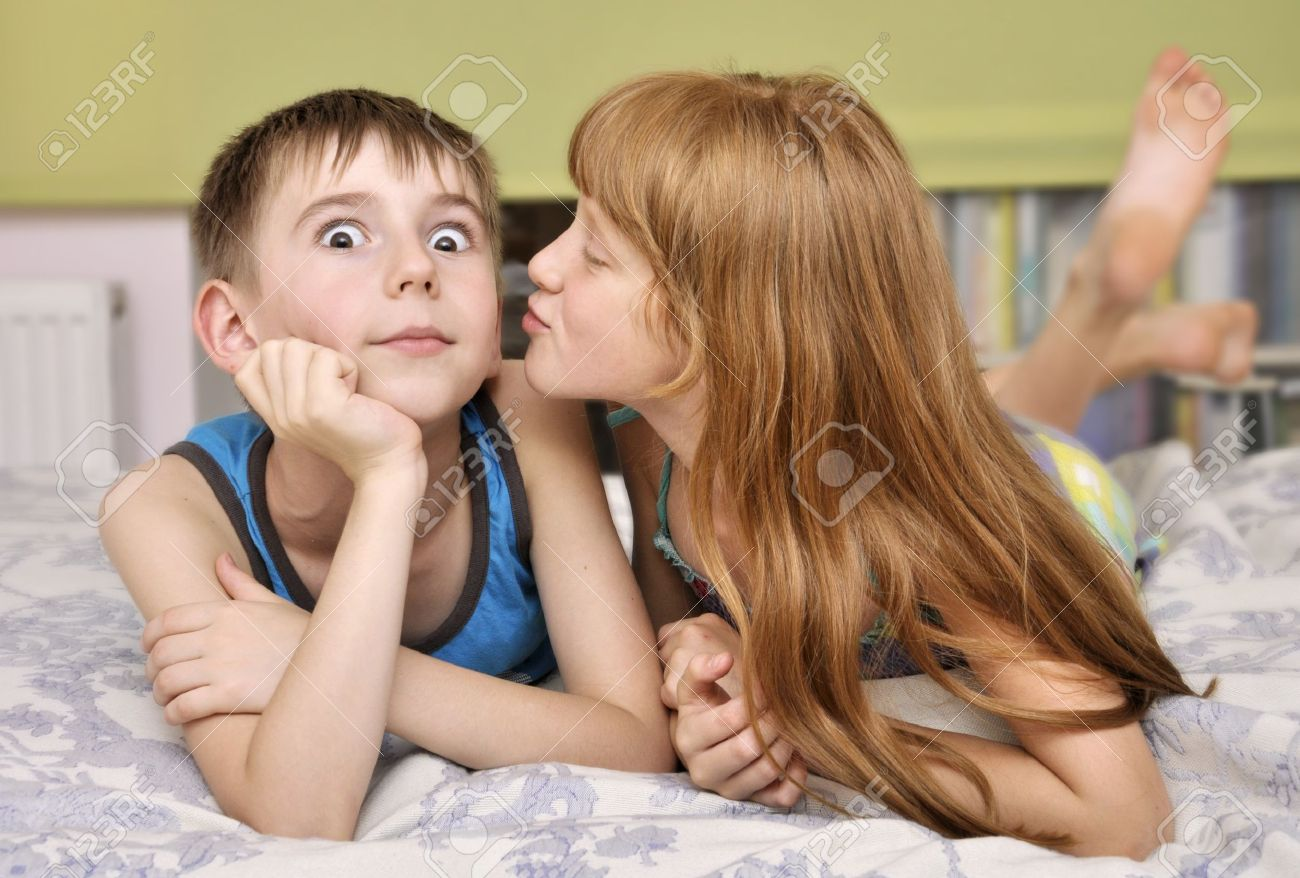 English boys grils kising photo