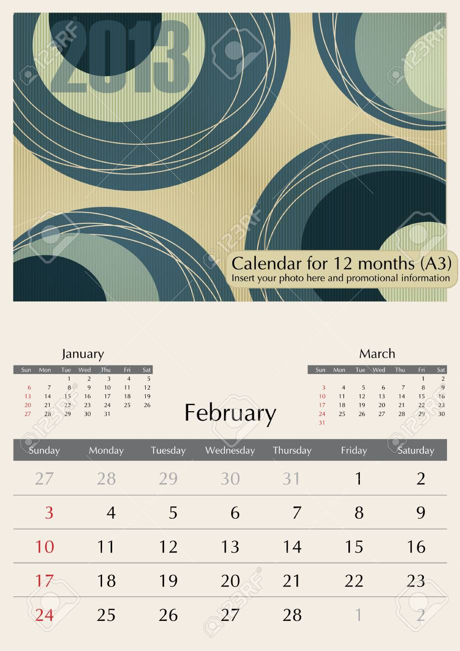 February. 2013 Calendar. Times Optima fonts used. A3 Stock Vector - 15824340