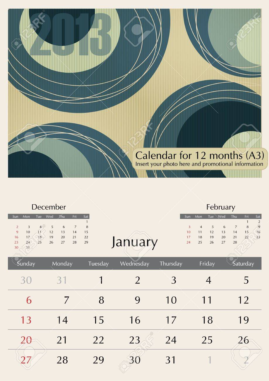 January. 2013 Calendar. Optima fonts used. A3 Stock Vector - 15824334